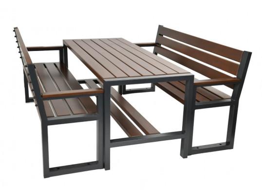 Zestaw ogrodowy Commodus: stół + 2 ławki z oparciem