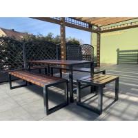 Zestaw ogrodowy Commodus: stół + 2 ławki bez oparcia + 2 krzesła