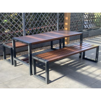 Zestaw ogrodowy Commodus: stół + 2 ławki bez oparcia