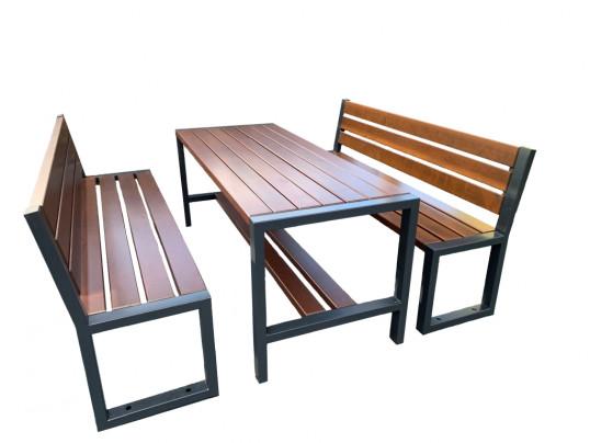 Zestaw ogrodowy Commodus: stół + 2 ławki z oparciem bez podłokietników