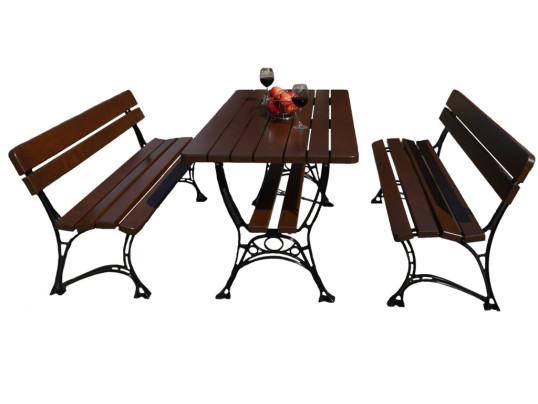 Zestaw ogrodowy Regiis: stół + 2 ławki bez podłokietnika