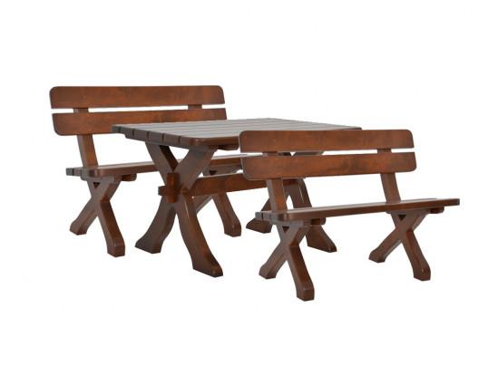 Zestaw ogrodowy Exclusive: stół + 2 ławki 110 cm