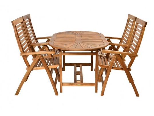 Zestaw mebli ogrodowych Bristol (153-195) x 90 z 4 krzesłami Ascot