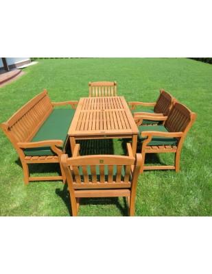 Zestaw ogrodowy (4 fotele Edinburgh + 3-osobowa ławka Edinburgh + stół Dover + poduchy)