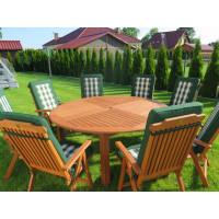 meble ogrodowe (Stół Cocos 180cm + zestaw 8 krzeseł 5-pozycyjnych do wyboru + 8 poduch do wyboru)