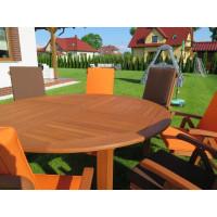 meble ogrodowe drewniane (Stół Cocos 180cm + zestaw 8 krzeseł 5-pozycyjnych do wyboru + 8 poduch do wyboru)