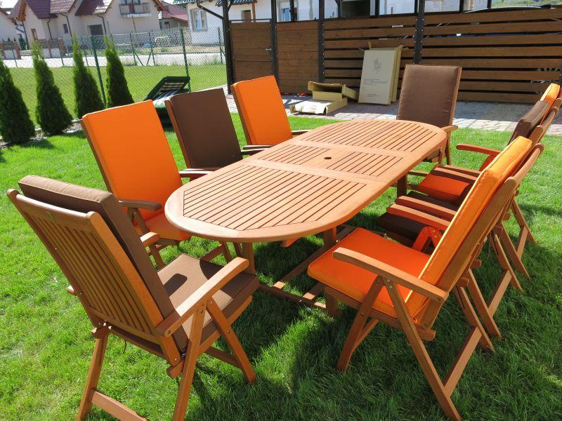Meble ogrodowe drewniane stół 8 krzeseł i poduchy (4188207088)