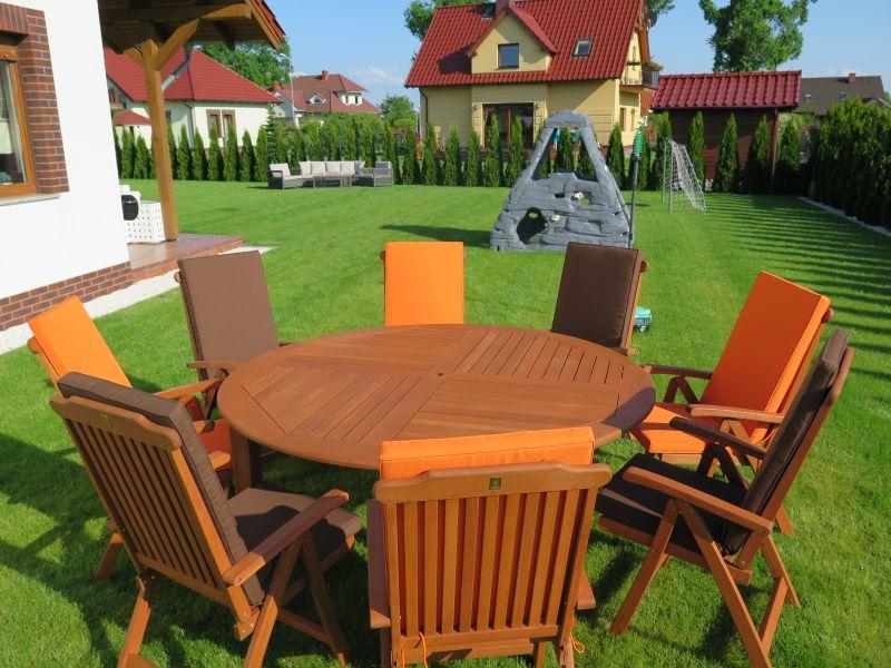 Meble ogrodowe drewniane stół krzesła poduchy HIT  4341568857