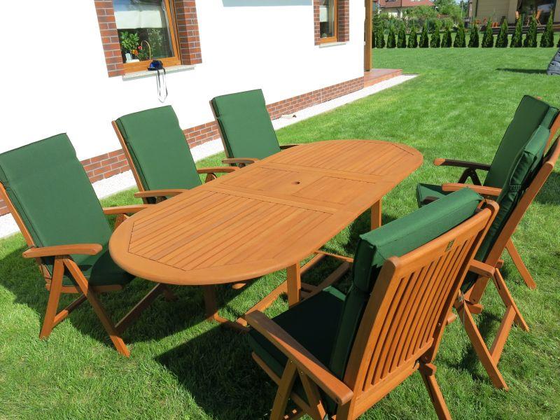 Meble ogrodowe drewniane stół 6 krzeseł i poduchy (4205974836)
