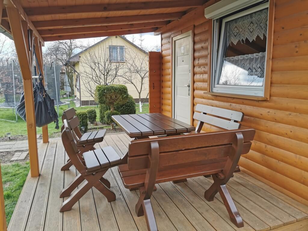 zestaw tarasowy z ławką ogrodową